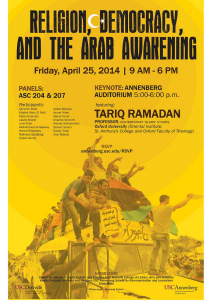 "University of South California: ""Religion, Democracy and the Arab Awakening"""