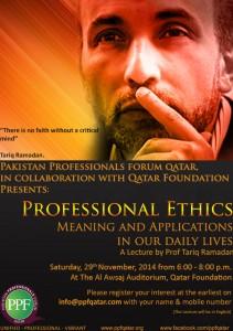 "Pakistan Professionals Forum Qatar / Qatar Foundation : ""Professional Ethics"" @ Doha | Ad-Dawhah | Qatar"