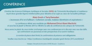 """Conférence publique - Université Mundiapolis """"Jeunesses d'ici et d'ailleurs: cohésion sociale, malaise identitaire et aspirations"""" @ Salle de conférence du campus"""